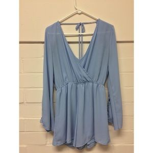 Sky Blue Long-Sleeved Romper with Deep Back